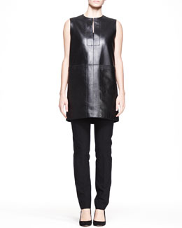 THE ROW Sleeveless Leather Pocket Tunic and Stretch-Scuba Skinny Pants