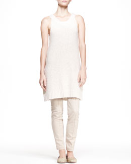 THE ROW Long Boucle Tank Dress and Heavyweight Stretch Denim Pants