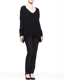 THE ROW Cashmere V-Neck Trapeze Sweater and Stretch-Scuba Skinny Pants