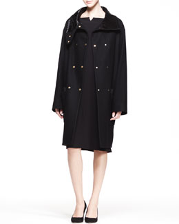THE ROW Oversized Double-Snap Coat and Half-Sleeve Dress