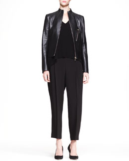 THE ROW High-Neck Leather Jacket, Cap-Sleeve Trapeze Top & Wide-Leg Pleat Pants