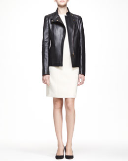 THE ROW Golden-Trim Leather Jacket and 3/4-Sleeve Scuba Dress