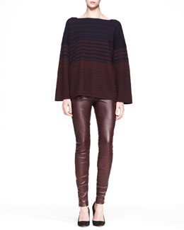 THE ROW Oversized Multi-Stripe Sweater and Stretch Leather Skinny Pants