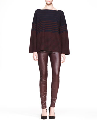 Oversized Multi-Stripe Sweater and Stretch Leather Skinny Pants