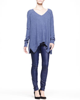 THE ROW Heathered V-Neck Sweater and Stretch Leather Skinny Pants