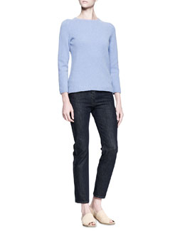 THE ROW Crewneck Pullover Sweater and Straight-Leg Denim Pants