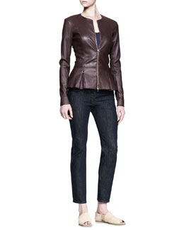 THE ROW Leather Peplum Jacket, Short-Sleeve Top & Straight-Leg Denim Pants
