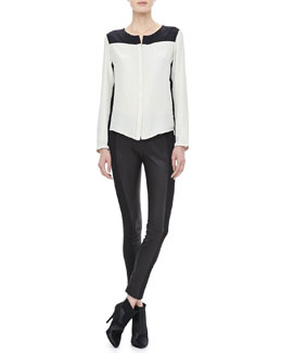 Rag & Bone Romane Bicolor Silk Shirt & Glasgow Paneled Leather Leggings
