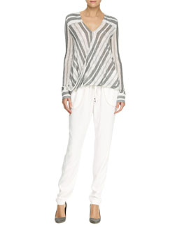 10 Crosby Derek Lam Striped Drape-Front Blouse and Drawstring Crepe Track Pants