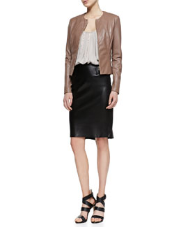 L'Agence Collarless Fitted Leather Jacket, Nailhead-Stripe Silk Camisole & Flutter-Hem Leather Skirt