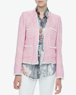 L'Agence Frayed-Trim Tweed Jacket & Printed Sheer Chiffon Blouse