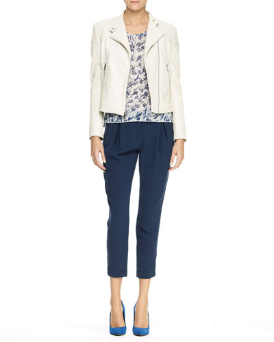 Rag & Bone Firebird Leather Moto Jacket, Burnout Printed Pocket Tee & Em Pleated Cuffed Pants