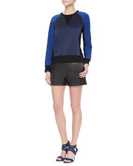 Rag & Bone Kent Colorblock Combo Sweatshirt & Elm Pleated Leather Shorts