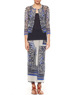 Jean Paul Gaultier Cropped Printed Tulle Cardigan, Tank & Tattoo Patchwork Maxi Skirt