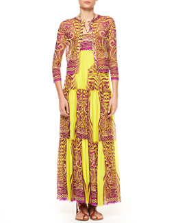 Jean Paul Gaultier Cropped Printed Tulle Cardigan & Tiered Tattoo Halter Maxi Dress