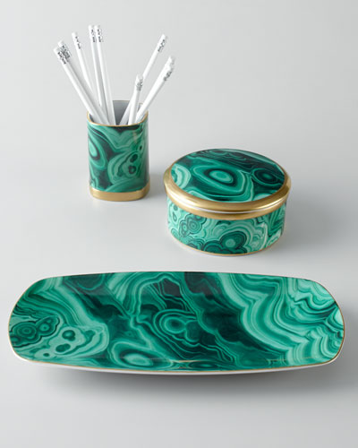 L'Objet Malachite Desk Accessories