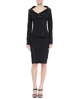 Donna Karan Leather-Trim Offset Jacket & Slim Skirt