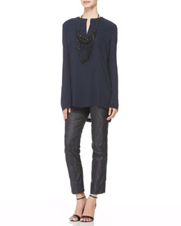 Donna Karan Leather-Trim Popover Blouse, Snake-Print Ankle Pants & Tiered Half-Moon Necklace