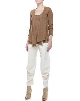 Donna Karan Long-Sleeve Draped Cardigan, Cashmere Tank & Cropped Slouchy Pants
