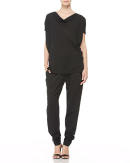Donna Karan Draped Cold-Shoulder Blouse & Pleated Tapered-Leg Trousers