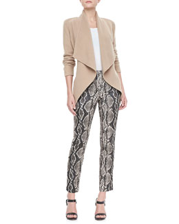 Donna Karan Cashmere Belted Jacket and Python-Print Pants
