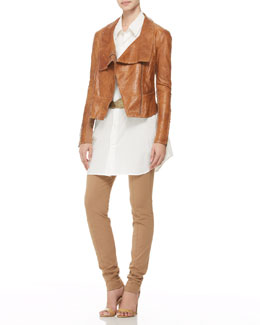 Donna Karan Topstitched Leather Jacket, Oversized Buttoned Shirt, Seamed Pull-On Pants & Hip-Slung Belt