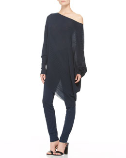 Donna Karan Long-Sleeve Asymmetric Top & Second Skin Seamed Pants