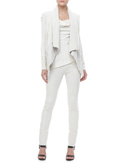 Donna Karan Draped Shearling-Suede Vest, Asymmetric-Neck Top and Pull-On Leggings