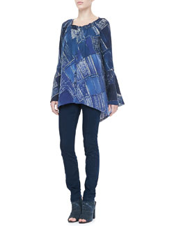 Donna Karan Printed Trapeze Blouse and Second Skin Pants