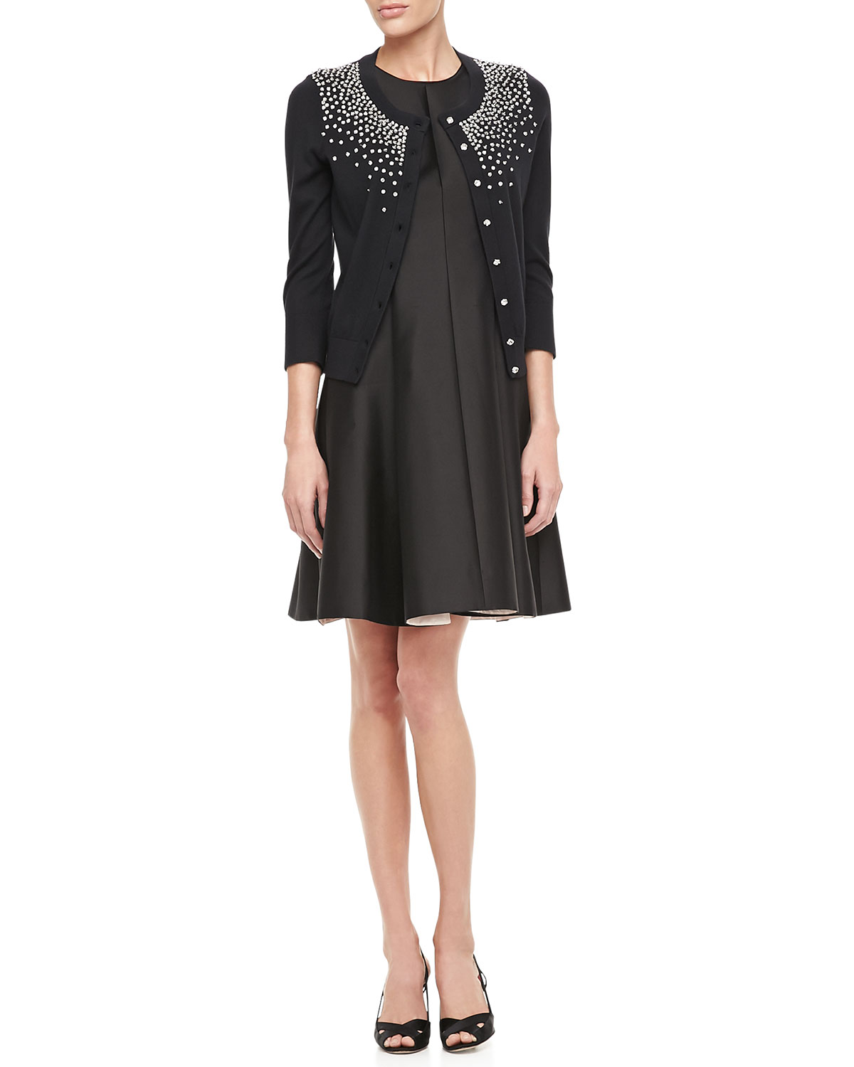 kate spade new york franny 3/4 sleeve lace coat & emma flared cotton silk dress