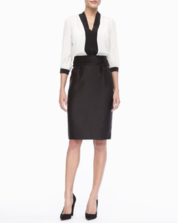 kate spade new york livy colorblock blouse & niko high-waisted pencil skirt