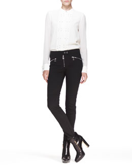 Belstaff Darcy Pleated Studded Blouse and Barbican Skinny Moto Pants