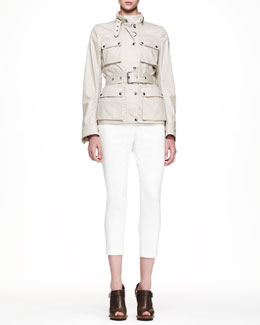 Belstaff Roadmaster New Coated Jacket, Bingley Drape-Front Blouse & Marston Cropped Twill Pants