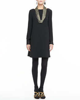 Eileen Fisher Washable Long-Sleeve Dress & Sparkle Knit Scarf Necklace