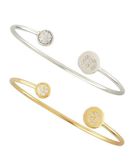Diamond-Ball & Pave Diamond Initial Bracelet