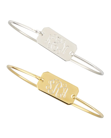 Sarah Chloe Chiara Monogrammed Rectangle Bracelet, Silver