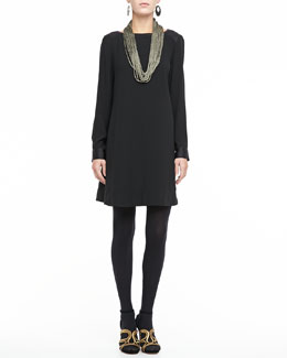Eileen Fisher Washable Long-Sleeve Dress & Sparkle Knit Scarf Necklace, Petite