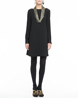 Eileen Fisher Washable Long-Sleeve Dress & Sparkle Knit Scarf Necklace, Women's
