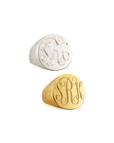Lana Monogrammed Round Signet Ring, Silver