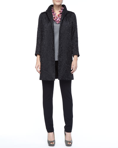 Eileen Fisher Embroidered Silk Dots Coat, V-Neck Tank & Slim Ponte Pants