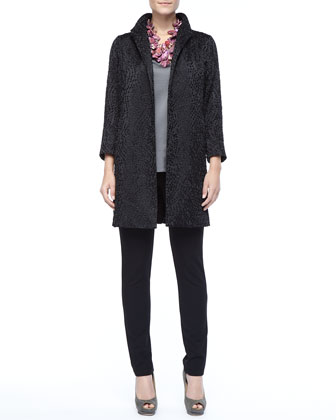 Embroidered Silk Dots Coat, V-Neck Tank & Slim Ponte Pants