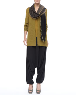 Eileen Fisher Merino Wool Mesh Cardigan, Charmeuse V-Neck Tank, Dip-Dyed Wool Wrap & Smocked-Waist Harem Pants
