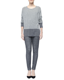 Vince Colorblock Cashmere Sweater & Piped Drawstring Sweatpants