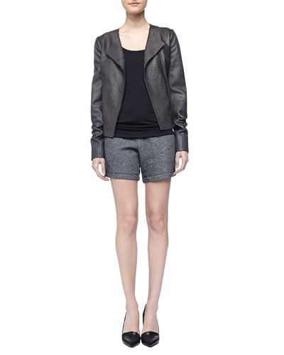 Snake-Embossed Leather Jacket, Favorite Tank & Drawstring Sweat Shorts