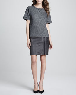 Vince Luxe Short-Sleeve Knit Sweatshirt & Leather Snake Pencil Skirt
