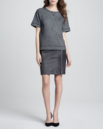 Luxe Short-Sleeve Knit Sweatshirt & Leather Snake Pencil Skirt