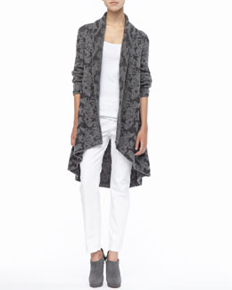 Eileen Fisher High-Low Ruffled Cardigan, Organic Cotton Slim Tank & Skinny Ankle Jeans, Petite