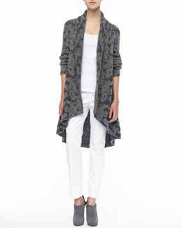 Eileen Fisher High-Low Ruffled Cardigan, Organic Cotton Slim Tank & Skinny Ankle Jeans, Women's