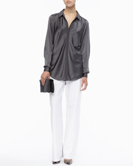 Eileen Fisher Silk Long-Sleeve Shirt, Modern Wide-Leg Pants & Galaxy Textured Leather Clutch