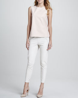Vince Perforated Leather Shell & Cropped Leather Pants